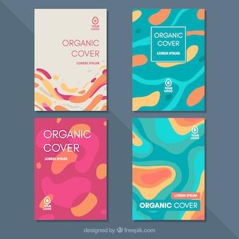 Коллекция шаблонов обложки с органическими формами