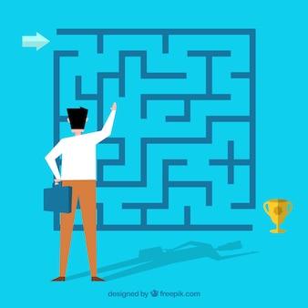 Бизнес-концепция с плоским лабиринтом