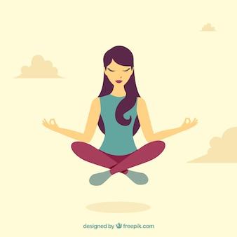 フラットデザインの瞑想コンセプト