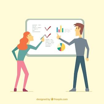 ビジネスプレゼンテーションのチームワークコンセプト