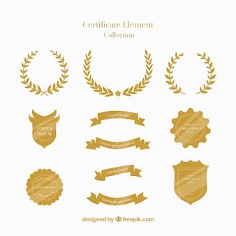 Коллекция элементов сертификата в плоском стиле