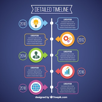 インフォグラフィックスタイルのビジネスタイムラインテンプレート