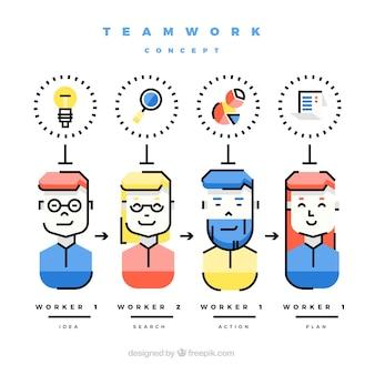 フラットデザインのチームワークコンセプト