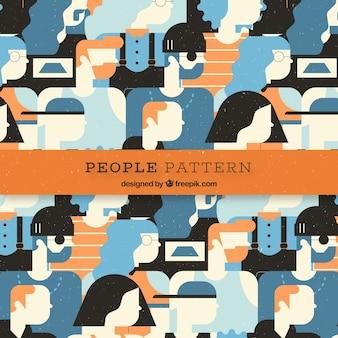 フラットデザインのカラフルな人々のパターン