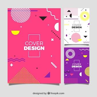 Современный шаблон шаблона обложки с геометрическим дизайном
