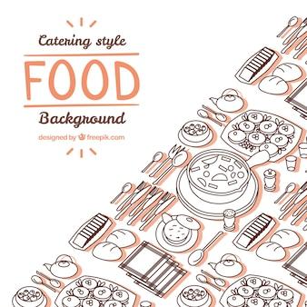手描きのスタイルでおいしい食べ物の背景