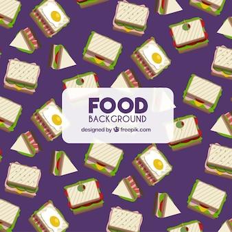 サンドイッチのある食品の背景