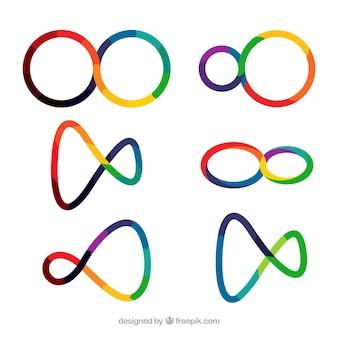 Современный набор красочных символов бесконечности
