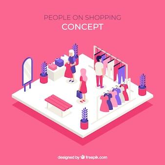 アイソメトリックなビューで人々とショッピングコンセプト
