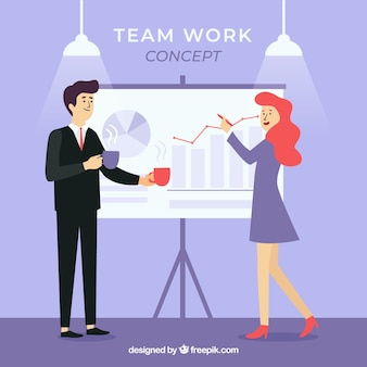 フラットデザインのビジネスチームワークコンセプト