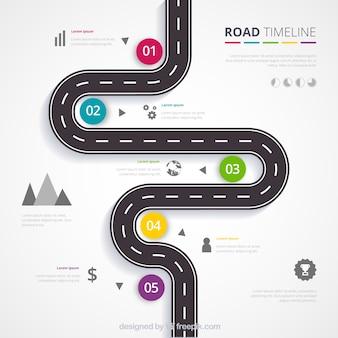道路のインフォグラフィックタイムラインコンセプト