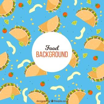 Мексиканский пищевой фон с плоским дизайном
