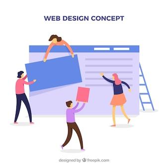 Концепция веб-дизайна с плоским дизайном