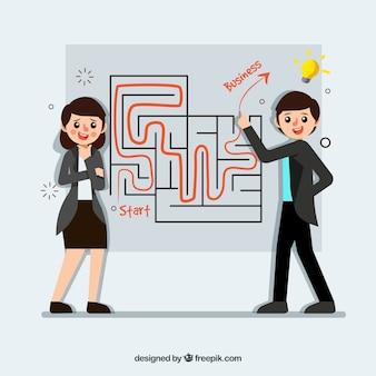 迷路と労働者とビジネスコンセプト