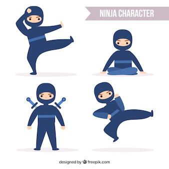 Коллекция персонажей ниндзя в разных позах