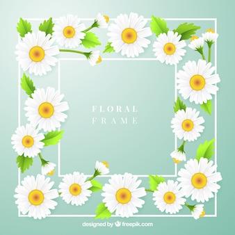 Прекрасная цветочная рамка с реалистичным стилем
