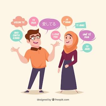 Плоские люди со словами на разных языках