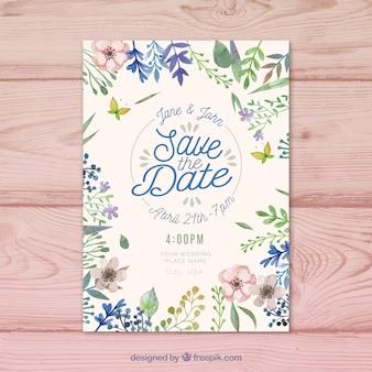 美しい花の水彩画の日付の招待状を保存します。