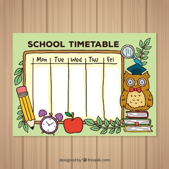 学校の手描きのタイムテーブルテンプレートに戻る