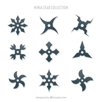 フラットデザインの伝統的な忍者スターコレクション