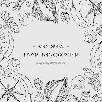 手描きの健康的な食べ物の背景