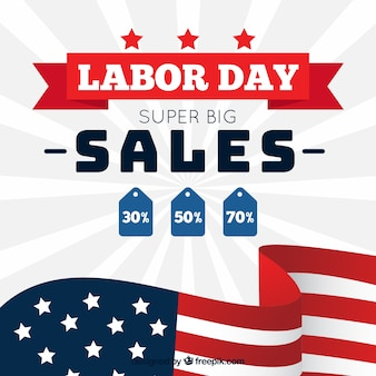 フラットデザインのアメリカの労働者の日の販売