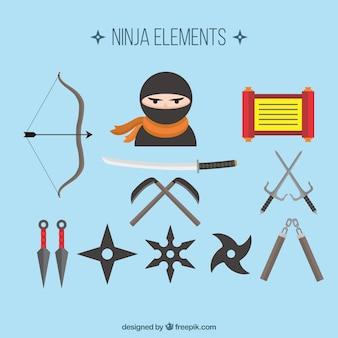 フラットデザインの忍者要素コレクション