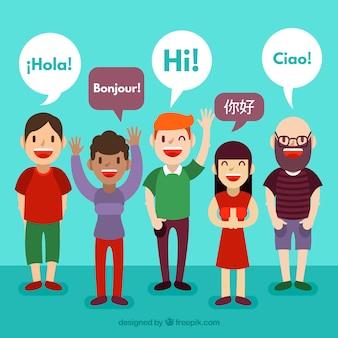 フラットなデザインでさまざまな言語を話す人々