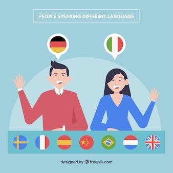 フラットな人々が異なる言語を話す