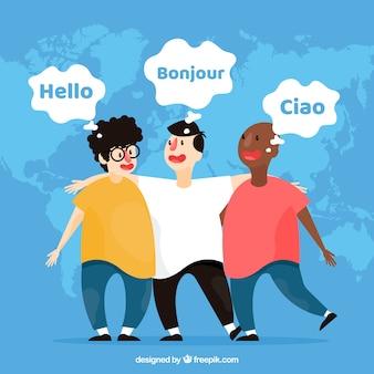 異なる言語を使用するフラット文字