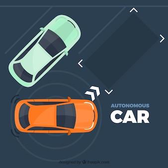 フラットデザインの自律型自動車コンセプト