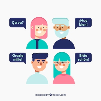 Люди, говорящие на разных языках с плоским дизайном