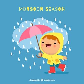モンスーン季節のフラットデザイン