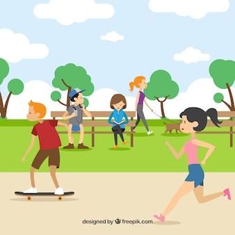 Люди, занимающиеся спортом на свежем воздухе с плоским дизайном