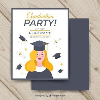 Шаблон приглашения для выпускников с плоским дизайном