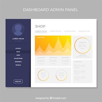 グラデーションスタイルのダッシュボード管理パネル