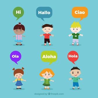 さまざまな言語で話す泡のある人