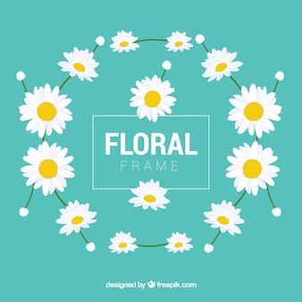 Красочная цветочная рамка с плоским дизайном