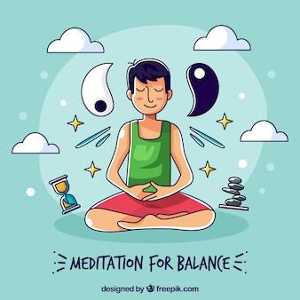 手描きのキャラクターと瞑想の概念