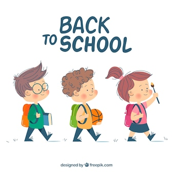 学生と一緒に学校のバックグラウンドに戻る