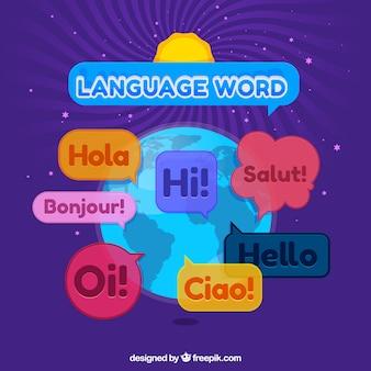 Языковая концепция с плоским дизайном
