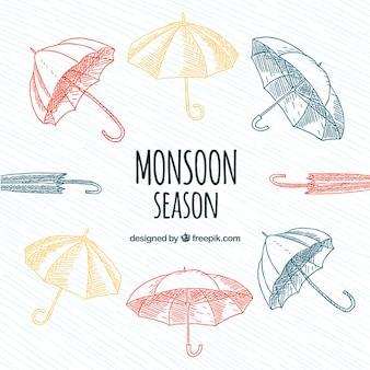 モンスーン季節の手作業