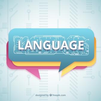 Концепция языкового слова с плоским дизайном