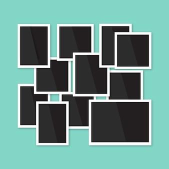 フラットデザインのフォトフレームコラージュの構成
