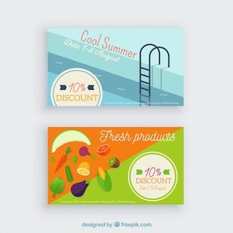 平らなデザインの夏期ロイヤリティカードテンプレート