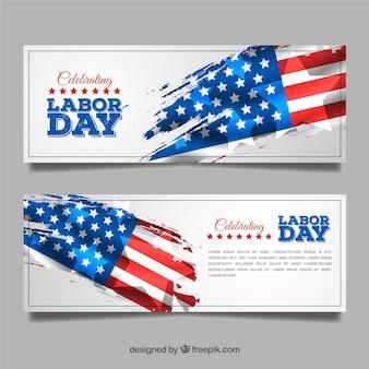 旗の労働日のバナー