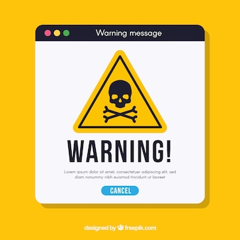 Предупреждение всплывает с плоским дизайном