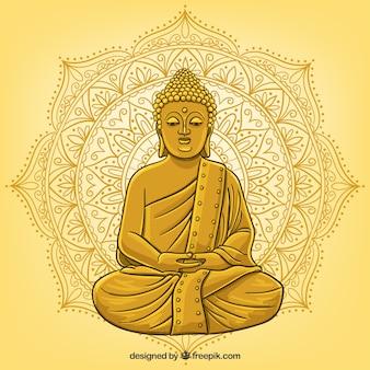 手描きのスタイルで仏の像