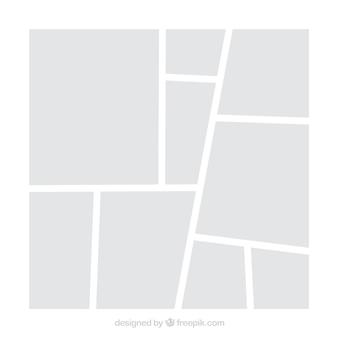 白いフォトフレームのコラージュテンプレート
