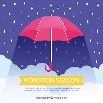雨傘のあるモンスーン季節の背景